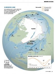 Noorpool lonkt - terugtrekkend zeeijs levert nieuwe vaarroutes en wingebieden. Illustratie uit artikel.