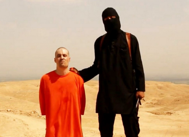 "Still uit ""Message to America"" van IS, met James Foley, 19 augustus 2014."