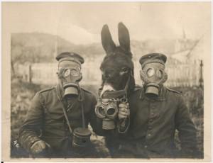 Foto van Duitse soldaten met muilezel en gasmaskers 1916