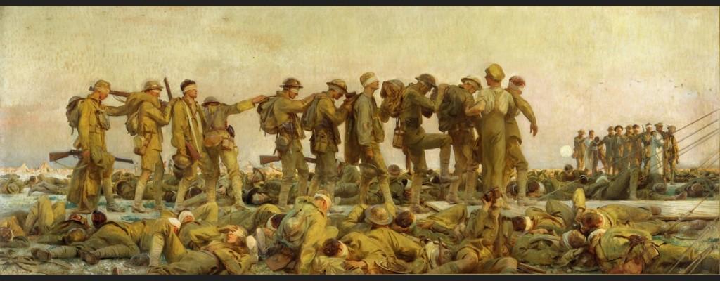 """""""Gassed"""" (1919) door John Singer Sargent (1856 – 1925) toont de nasleep van een aanval met mosterdgas tijdens de Eerste Wereldoorlog. Sargent maakte het olieverfschilderij van zes bij twee meter na bezoek aan het front bij Arras en Yper in 1918."""