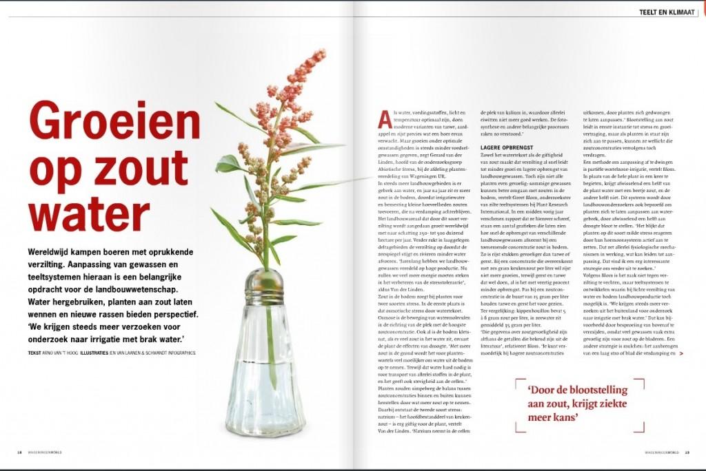 Zilte landbouw zouttolerantie onderzoek