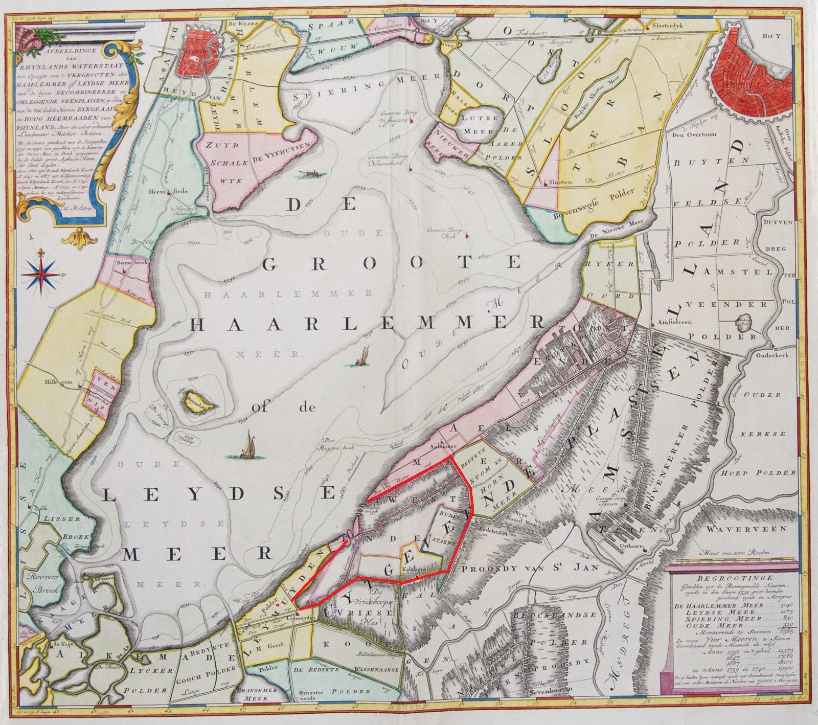 Contouren van Westeinderplassen op kaart van Haarlemmermeer uit 1740